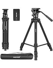 Neewer 66 inch videostatief met vloeistofkop - lichtmetalen camerastatief van aluminiumlegering met draaibare kop voor DSLR-camera, videocamera en camcorder, VT-1520