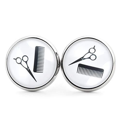 SCHMUCKZUCKER Unisex Ohrstecker Motiv Friseur lustige Edelstahl Ohrringe Kamm Schere Silber Schwarz Weiß 14mm