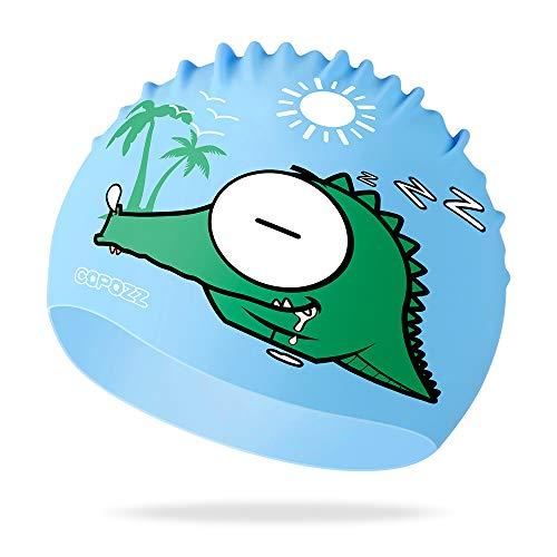 COPOZZ Kinder Badekappe, Wasserdicht Schwimmkappe für Mädchen Jungen, Lange Haare Silikon Swimming Cap Bademütze für 3 4 5 6 7 8 9 10 11 12 Jahres … (Blau Krokodil, 3-12 Jahre 7.79 * 9.25 Zoll)