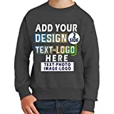 Custom Crewneck Add Your Own Design Picture Photo Text Two Sided for Youth Girl Boy Sweatshirt Charcoal