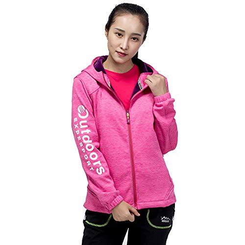 KD Hiver Extérieur Couple Stretch Toison Épais Manteau Femme Grand Code Chaud Casual Manteau Capuche,Pink,XL
