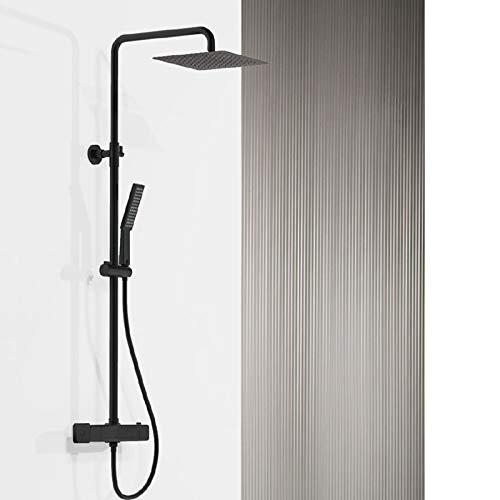 GYW-YW Ducha de Lluvia termostática con Caja de Ducha de Cascada para baño Cromo. (Color : Mette Black)