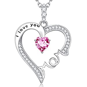Pink Tourmline I Love You Mom Engraved Heart Shape Sterling Silver Necklace