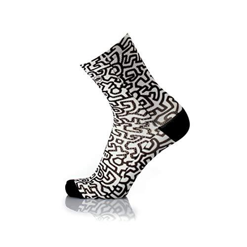 MB Wear Chaussettes Fun-Mimetic Men-S/M (35-40) Mixte Adulte, Noir/Blanc, FR : M (Taille Fabricant