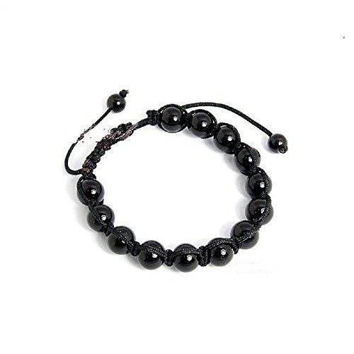 Shamballa-Armband mit schwarzer Kordel und schwarzen Perlen, gewebt aus Makramee, Größe verstellbar