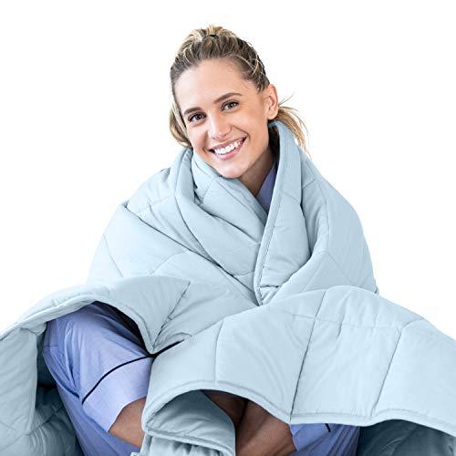 LUNA Erwachsene gewichtete Decke | 15 lbs - 48x72 - Doppelbett | 100% Oeko-Tex zertifizierte kühlende Baumwolle & Premium Glasperlen, Schweres kühles Gewicht für heiße und kalte Schläfer | Hellblau