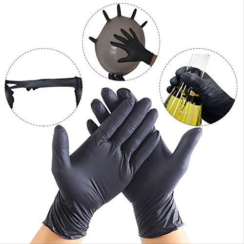 QIFENYEDENG 100 Stück, weiche Schwarze Einweghandschuhe, Nitril-Latexhandschuhe, Einweghandschuhe für die Küche, zum Schutz, Einweghandschuhe Groß, s