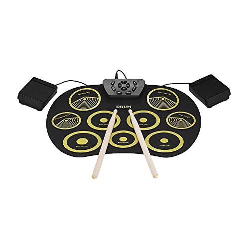 WSMLA Electronic Drum Set Roll Up Drum Practice Portable 9 Pads Digital Drum Kit Electric Drum Set - Best Gift for Kids Adults (No Speaker and Battery)