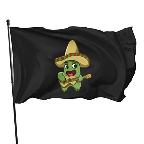 Flagge Mexikanischer Kaktus mit Gitarre, 3 x 5 cm
