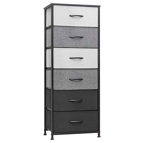 Crestlive Products Vertical Dresser Storage Tower - Sturdy Steel Frame, Wood Top, Easy Pull Fabric Bins, Wood Handles - Organizer Unit for Bedroom, Hallway, Entryway, Closets - 6 Drawers (Black&Gray)