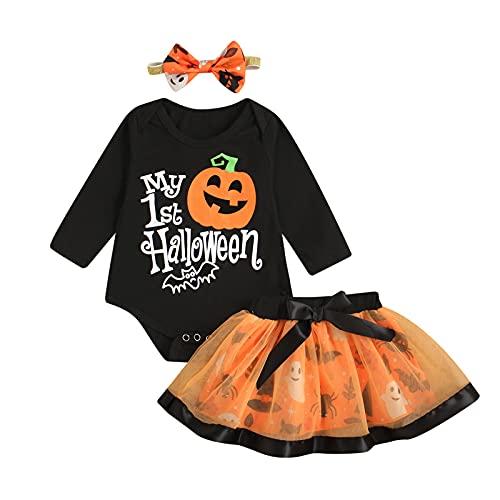 Disfraz de Halloween para bebé o niña, conjunto de ropa de Halloween, conjunto de 3 piezas, camiseta estampada de calabaza y falda de tutú, diseño fantasma + diadema, naranja, 6-12 Meses