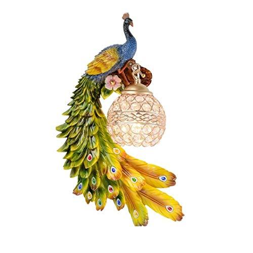 KIHUGL Lampada da Parete di Lusso Europea Bohemia Peacock LED Lustre Paralume in Cristallo Applique da Parete Camera da Letto Lampada da Parete in Resina da Comodino Left