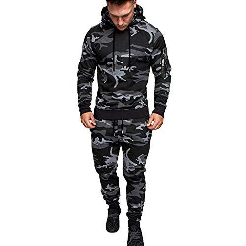 JiaMeng Hombre Sudaderas con Capucha Impreso con Estampado de Invierno Pantalones Top Conjuntos Chándal con Traje Deportivo