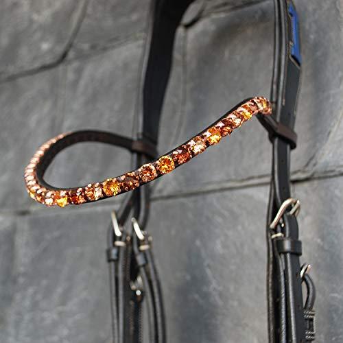 GlücksHucke Pferde Stirnriemen in Braun 'Wood' mit großen Glitzer Steinen in hellem & dunklem Braun, geschwungen, handgenäht (Warmblut XL, Lederfarbe Schwarz)