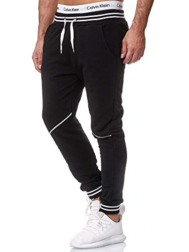OneRedox Herren Jogging Hose Jogger Streetwear Sporthose Modell 1316Schwarz WeissM