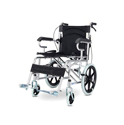 BAI Leichter, zusammenklappbarer, tragbarer manueller Rollstuhl mit Vollgummireifen, Sicherheitsgurt & Amp; Handbremsen - Rollstuhl für Herren & Amp gh