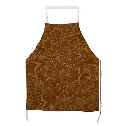 Promini 100% Polyester Volwassen Apron, Keuken Apron, Koken Bakken Schorten Met Twee Zakken, Chef Schort Voor Mannen En Vrouwen - VI-1213 Bruin