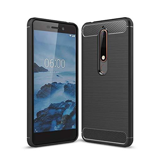 "LJSM Cover Nokia 6.1/Nokia 6 2018 nero Carbon Fiber Morbida Silicone Case Flessibile TPU Copertura Protezione Cover Fibra di Carbonio Custodia per Nokia 6.1/Nokia 6 2018 (5.5"")"