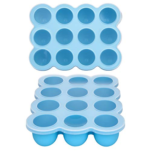 Baby Food Storage Container -12 Cup Silicone Baby Food Freezer Tray with Hard Lid,Food Grade Silicone,Perfect Food Container for Homemade Baby Food,Fruit Purees&Vegetables (Blue)