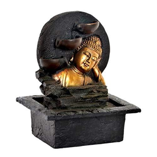 KERALA Fontaine d'eau intérieure avec Bouddha doré allongé Avec pompe à eau électrique avec lumière LED. En résine.