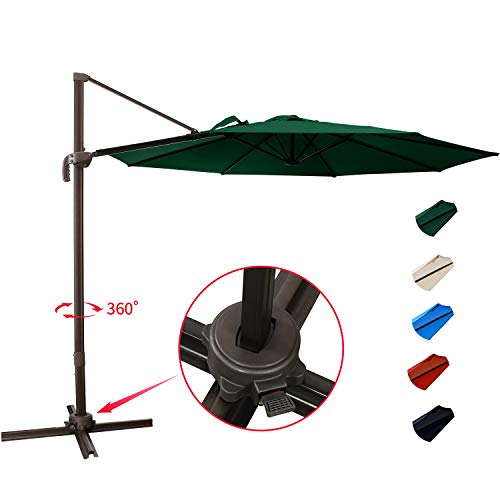 KITADIN Cantilever Umbrella - 10Ft Offset Patio Hanging Umbrella,Outdoor Market Umbrellas with Crank Lift & Cross Base (10 Ft, Dark Green)
