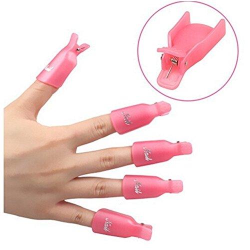 Qinlee 10 pcs Plastique Ongle Art Tremper Le Capuchon Pince à Ongles Gel UV Outil de Pellicule de Vernis à Ongles (Rose)