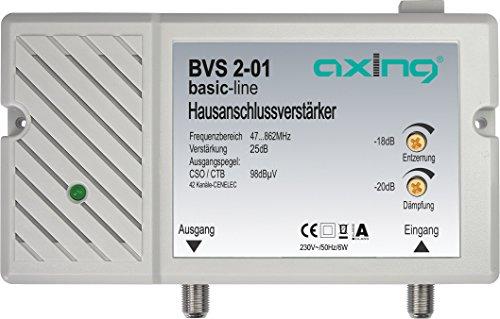 Axing BVS 2-01 Hausanschlussverstärker 25 dB für Kabelfernsehen digital (47-862 MHz)