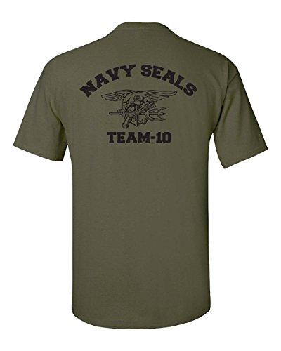 Navy Seal Team-10 Front & Back Men's T-Shirt - Large Military Green (ATA726)