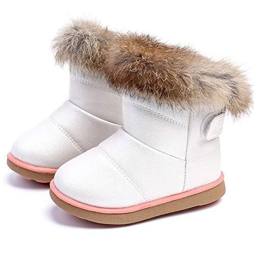 Botas Bebe Niña Invierno Botines de Nieve para Niñas Niñita Calentar Botas de Invierno para Niñas al Aire Libre Zapatos(25 EU/Tamaño de la etiqueta 26,Blanco)