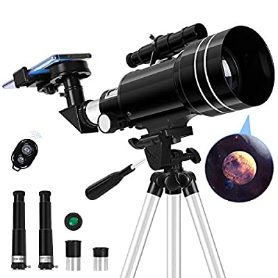 Deesoo Telescope for Adults Beginners - Professional Kids Telescopes for View Moon - 70mm Aperture 300mm FMC Optics - Portable Refractor Telescopes with Adjustable Tripod Phone Adapter Moon Filter