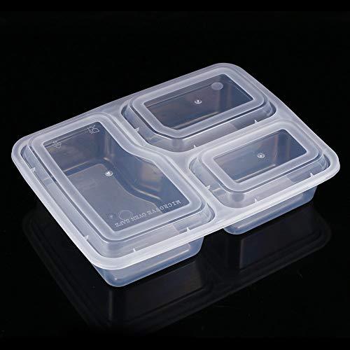 Caja de Bento segura para microondas, fiambrera, senderismo plástico para acampar para la escuela de trabajo(Transparent color 1000ML)