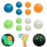 TENQUAN 12 pelotas adhesivas para aliviar el estrés (4 unidades de 6,5 cm y 8 unidades de 4,5 cm)