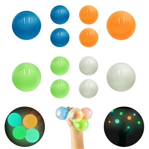TENQUAN 12 pelotas adhesivas para aliviar el estrés (4 unidades de 6,5 cm y 8 unidades de 4,5 ...