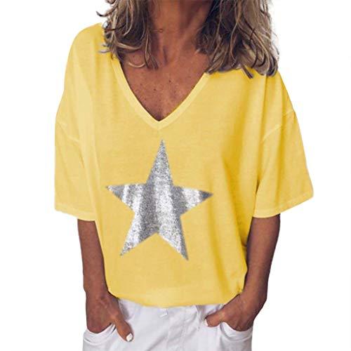 T-Shirt Bluse Frauen Sommermode Solid Bling V-Ausschnitt Kurzarm Tops (M,Gelb)