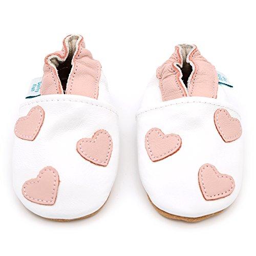 Dotty Fish Weiche Baby und Kleinkind Lederschuhe. Mädchen. Weiß mit rosa Herzen. 6-12 Monate (19 EU)