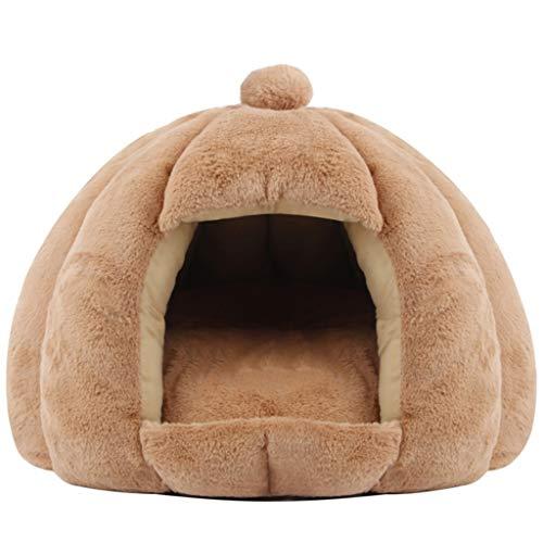 XYF Camas para Mascotas Lavable Cama Gato Suave Hogar Cama Gato Cueva Suave Adecuado para Mascotas De 7 Kg 9 Kg Suave Cueva con Cojín Extraíble (Color : Brown A-Large)