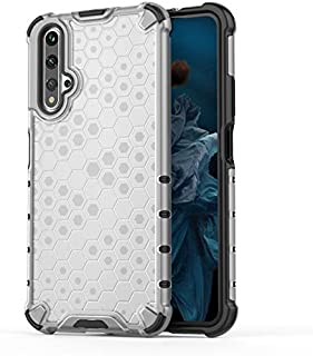 Fashion Phone case for Huawei Honor 20,Fashion Shockproof Honeycomb Design PC + TPU Protective Case (Color : Clear)