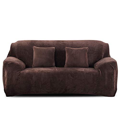 PETCUTE Fundas para sofá elásticas Cubre Sofa Fundas de sofá Terciopelo de 3 plazas sofá Fundas de Grueso marrón