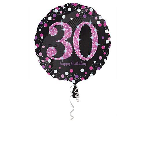 amscan 3378501 Folienballon 30.Geburtstag Celebration, Pink, Schwarz