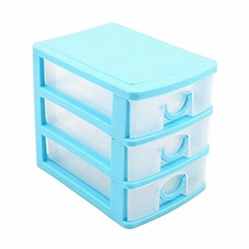 Couches tiroir Organiseur de bureau Boîtes de rangement conteneurs Bijoux à maquillage, Plastique, bleu, Three Layers#