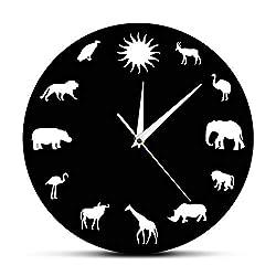 N /A Wall Clock African Animals Silhouette Wall Clock Safari Wild Animals Minimalist Design Modern Wall Clock Kid Room Nursery Wall Watch Clock