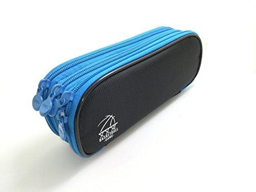 大容量 ペンケース 3ポケット 多機能筆箱 (黒)
