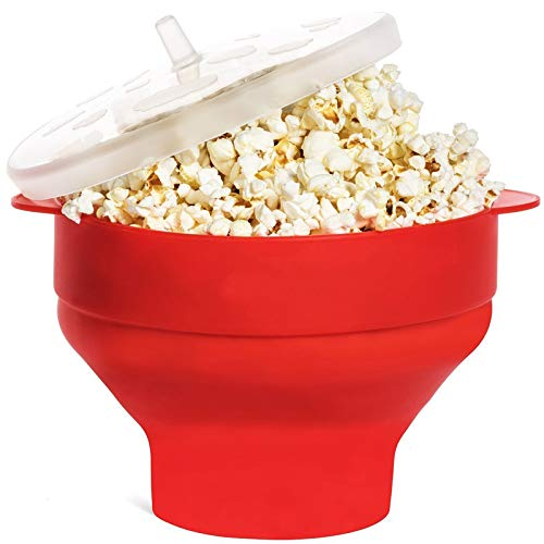 Check Out This Silicone Popcorn Propper Microwave Collapsible Popcorn Maker Bowl with Lid & Handles(...