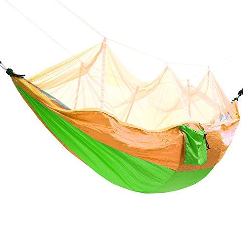 XuZeLii Hamaca De Camping Nylon Cama Colgante oscilación paracaídas con Mosquitera Hamaca Doble al Aire Libre for Acampar Viaje Adecuado para Mochileros (Color : Yellow+Green, Size : 260x140cm)