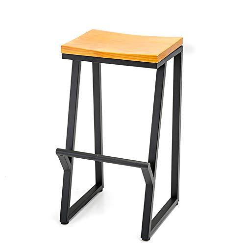GDHY Sgabelli da Bar con Poggiapiedi Sgabello Alto Industriale Sedia da Cucina Piedini in Metallo E Seduta in Legno Massello Panchetti Ergonomico
