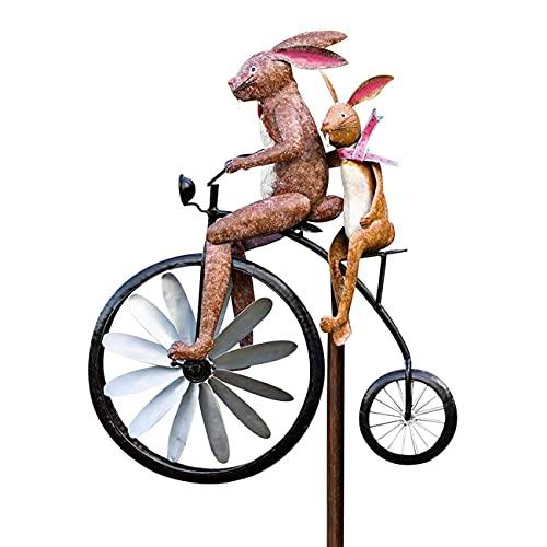 WANGW Vintage Bicycle Metal Wind Spinner, Garden Decor Frogs on a Vintage Bicycle, Bike Spinner Mental Garden Decoration, Handmade Bicycling Statue Sculpture (Rabbit)