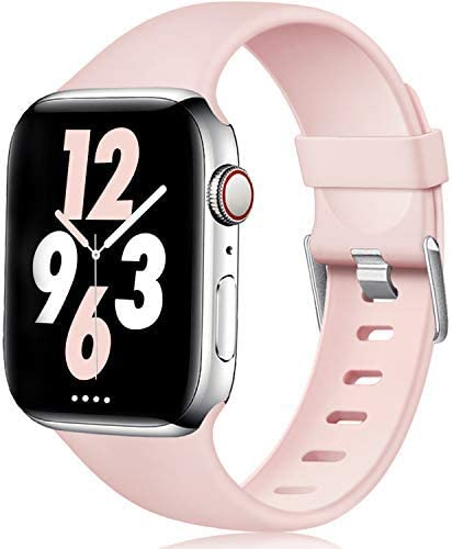 Laffav Sport Band Compatible with Apple Watch 40mm 38mm iWatch Series 5 4 3 2 1 Pink Sand S product image