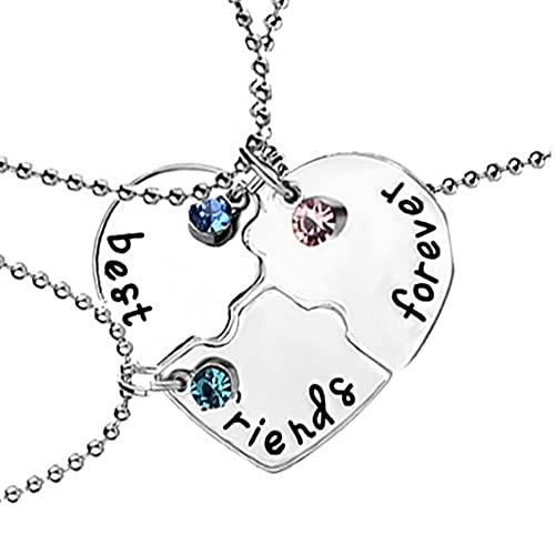 3 unids/Set Best Friend Forever Necklace Kit Rhinestone BFF Collar en Forma de corazón Colgante de la Amistad Puzzle Stitching Collar Joyería Regalo para Amigos