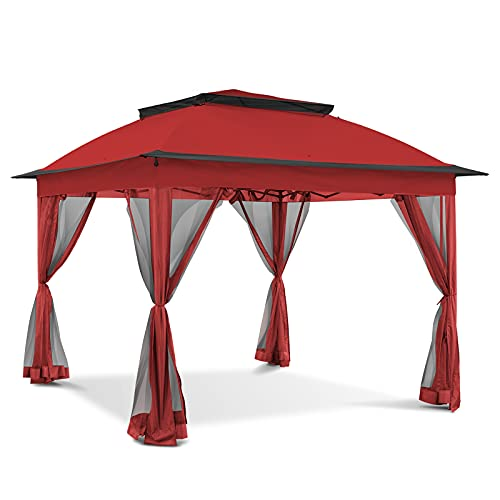 Joyside 11x11ft Pop-Up Gazebo Tent Instant with Mosquito Netting Outdoor Gazebo Canopy Shelter (Red)