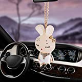 SONGQI Charm Beauty Rabbit Ornaments Ciondolo per Auto Specchietto Retrovisore Decorazione Ornamenti Appesi Automobili Interni Accessori per Auto